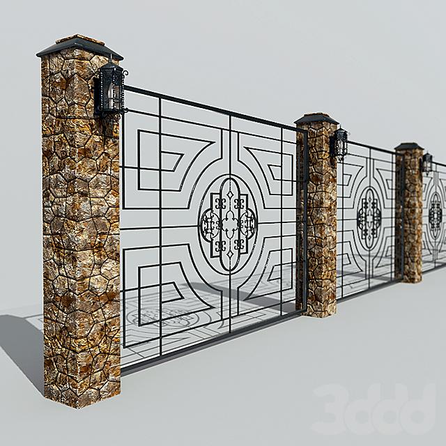 Ограда декоративная металлическая с фонарем
