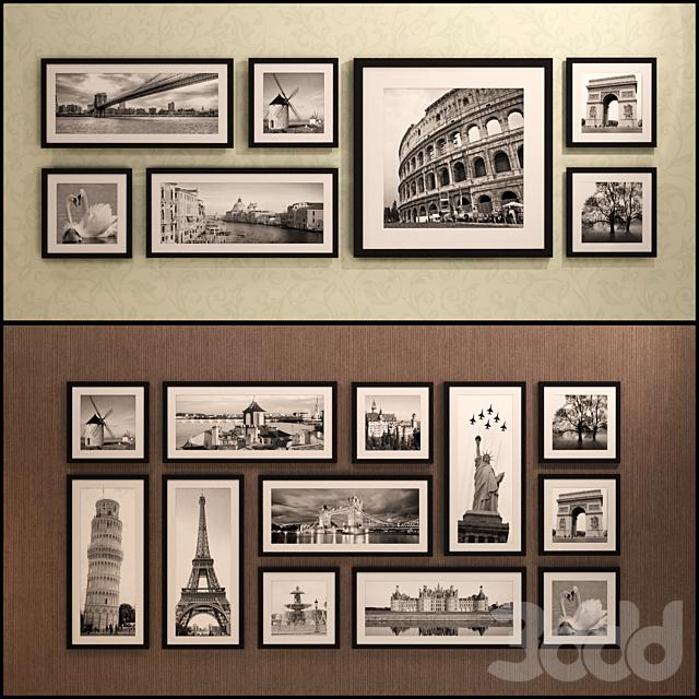 Картина в раме: 20 шт - 5 комбинаций (сборник 15) Фоторамка