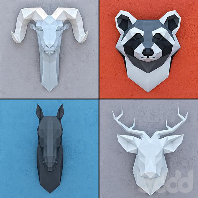 Набор декоративных голов Polygonal paper