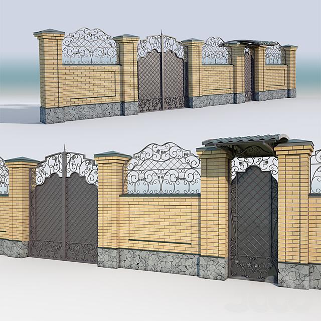 Brick fence_forging gate