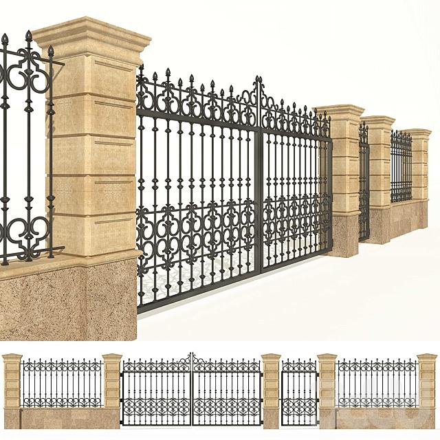 Забор каменный с ковкой. Ворота.
