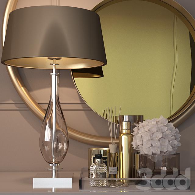 Декоративный набор в золоте для туалетного столика