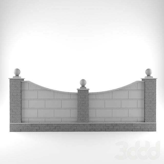 Забор облицованный гранитными плитами