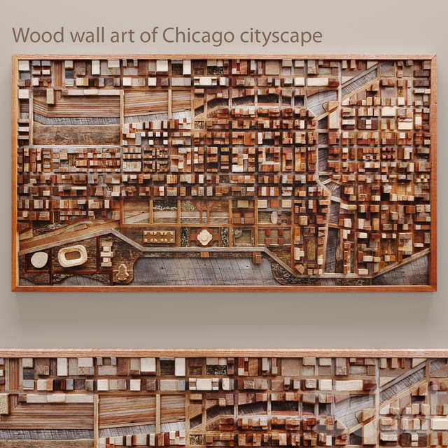 Wood wall art of Chicago cityscape