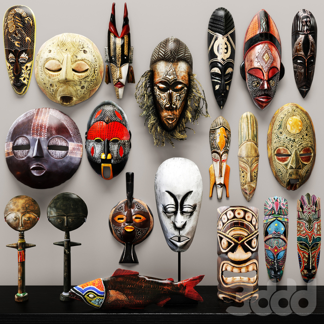 collection of masks and statuettes. 20 pieces