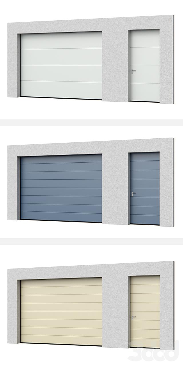 Секционные ворота Hormann LPU открытые/закрытые с боковой дверью