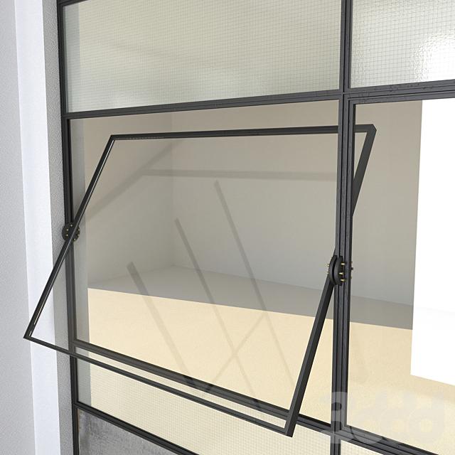 SET 4 Steel Factory Windows wired glass wireglass