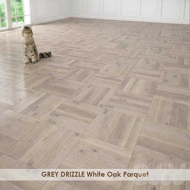 GREY DRIZZLE White Oak Parquet