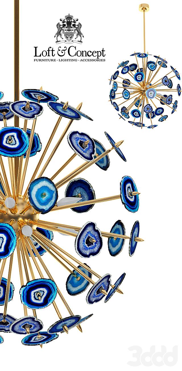 Люстра с синими агатами Agate Burst Chandelier BLUE