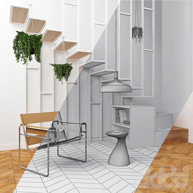 Интерьерный сет с лестницей и креслом Wassily