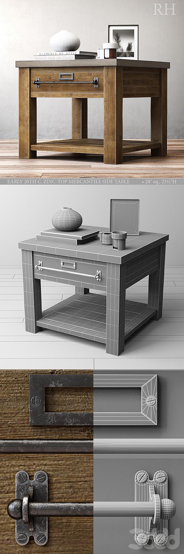 ZINC-TOP MERCANTILE SIDE TABLE 28sq