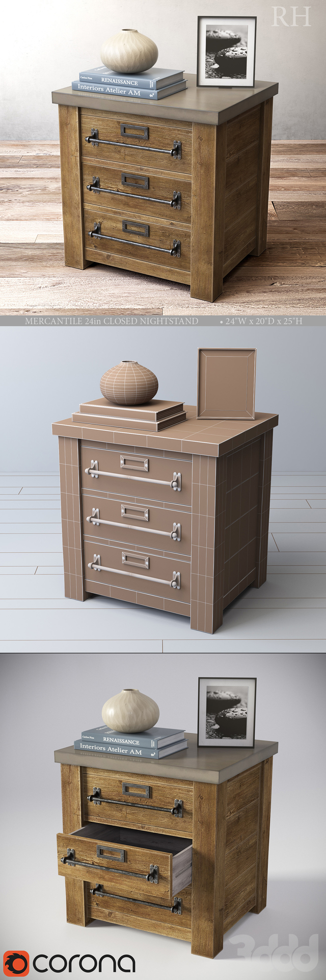 MERCANTILE 24in CLOSED NIGHTSTAND