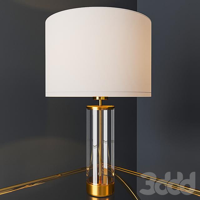 Acrylic Column Table Lamp - Antique Brass