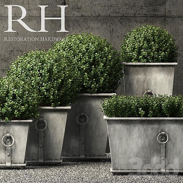 Restoration Hardware estate zinc ring square planters