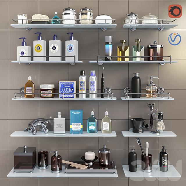 Набор косметики, аксессуаров и полок для ванной комнаты set 3