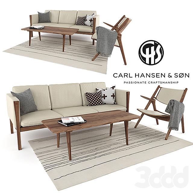Carl Hansen CH163 sofa and CH28 lounge chair