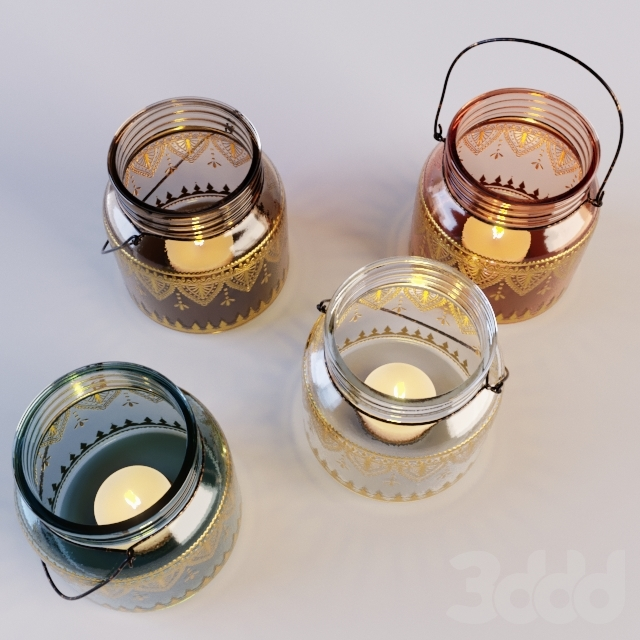 Glass With Gold Detail Lantern Set Of 2