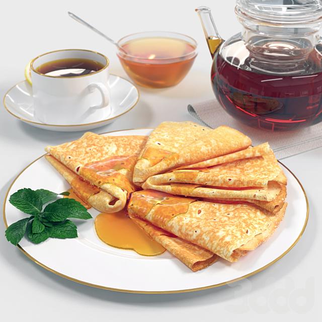 Still life. Pancakes with Honey (Блинчики с медом)
