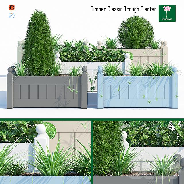 Timber trough planter