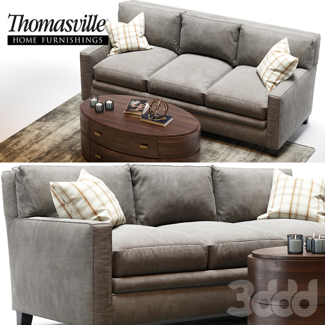 Thomasville mercer sofa and Andrew oval Cocktail table