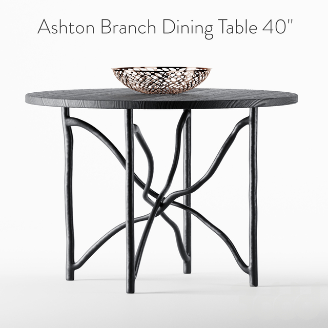 "Ashton Branch Dining Table 40"" Black"