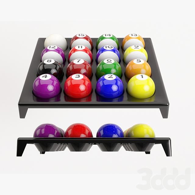 Pool Balls on plastic holder