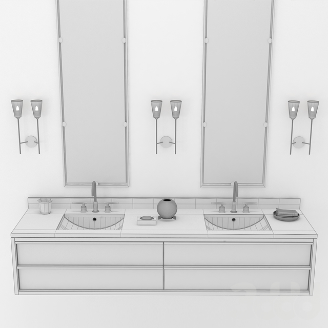 BEZIER DOUBLE EXTRA-WIDE FLOATING VANITY