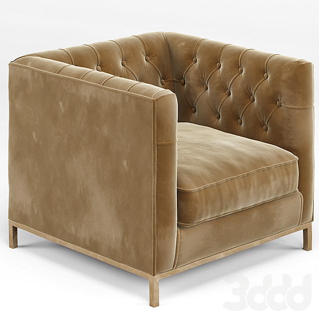 Tarrington Fawn Mohair Tufted Cube Armchair