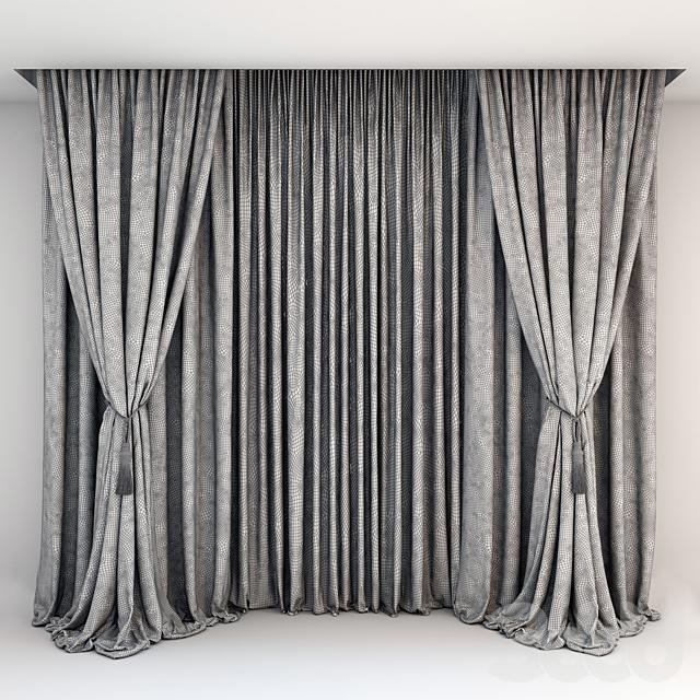 Черные атласные шторы с подхватом-кистью, серые прямые шторы в пол и тюль