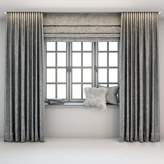 Прямые черно-белые полосатые шторы в пол с римской шторой, окном, книгами и подушками на подоконнике.