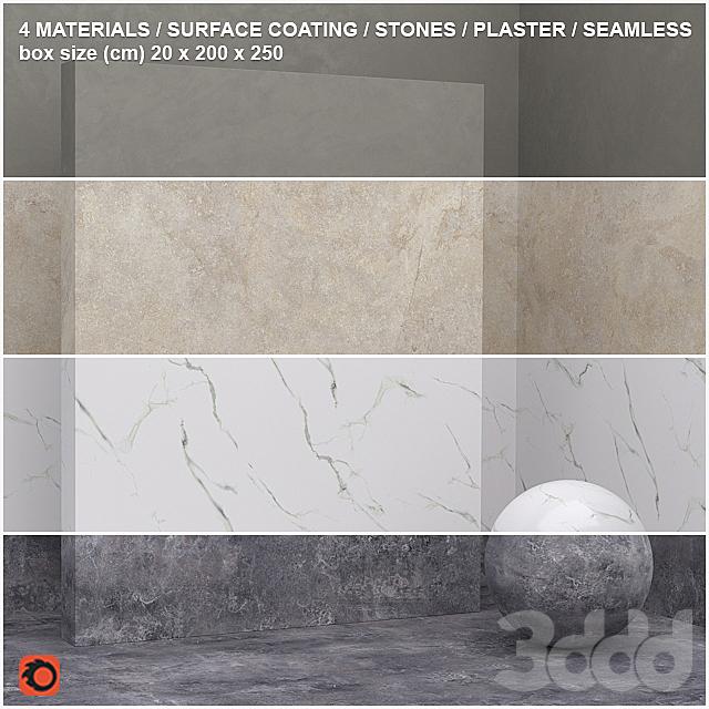 4 материала (бесшовный) - камень, штукатурка - set 14