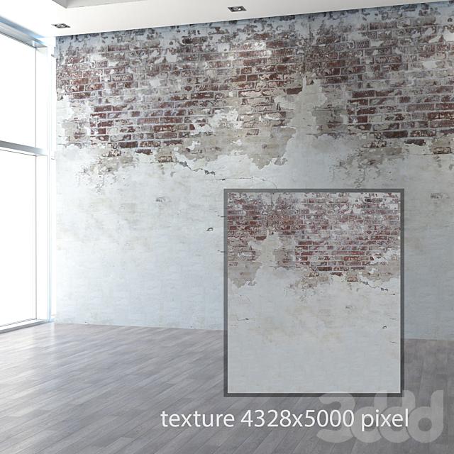 Состаренная стена с кирпичной кладкой
