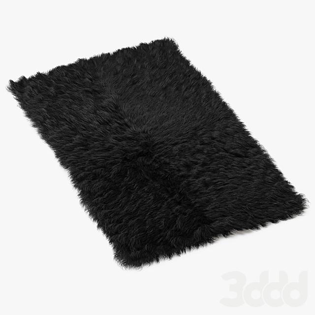 Mongolian fur rug black