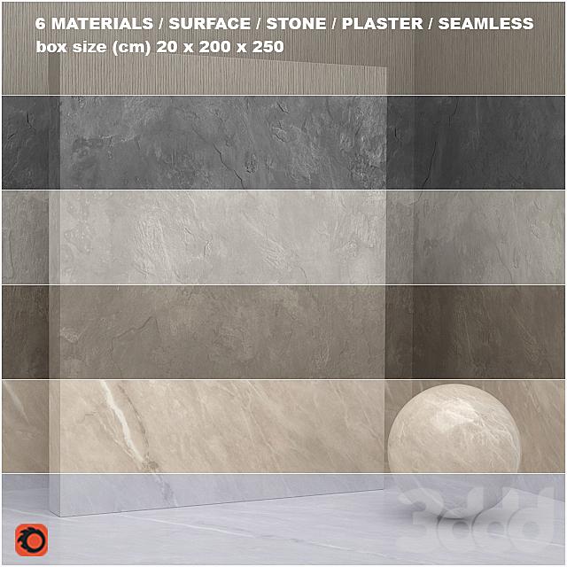6 материалов (бесшовный) - камень, штукатурка - set 22