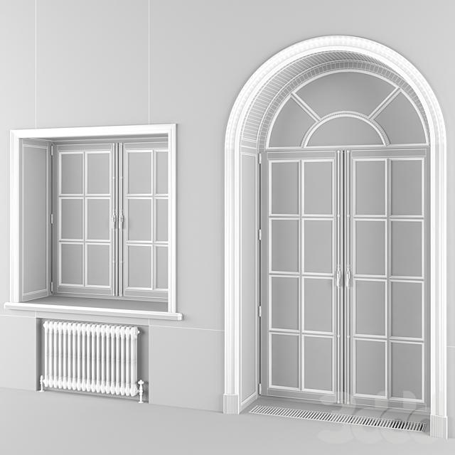 Классическое евроокно и  арочная дверь, 3 цвета