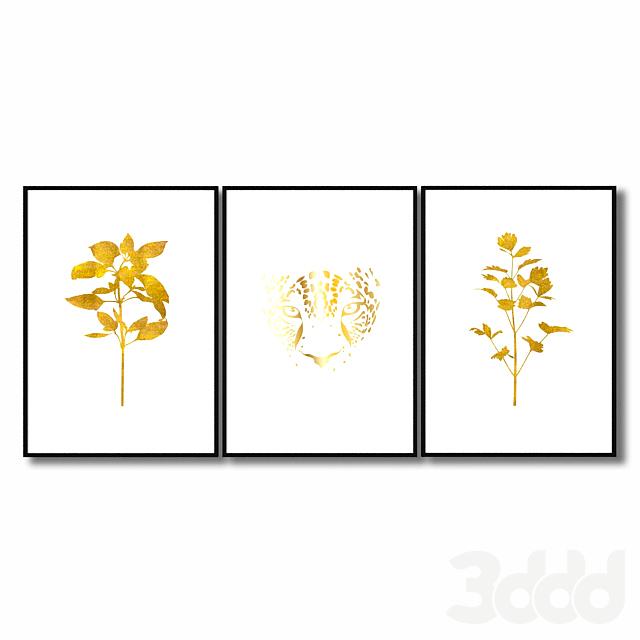 Набор золотых постеров.