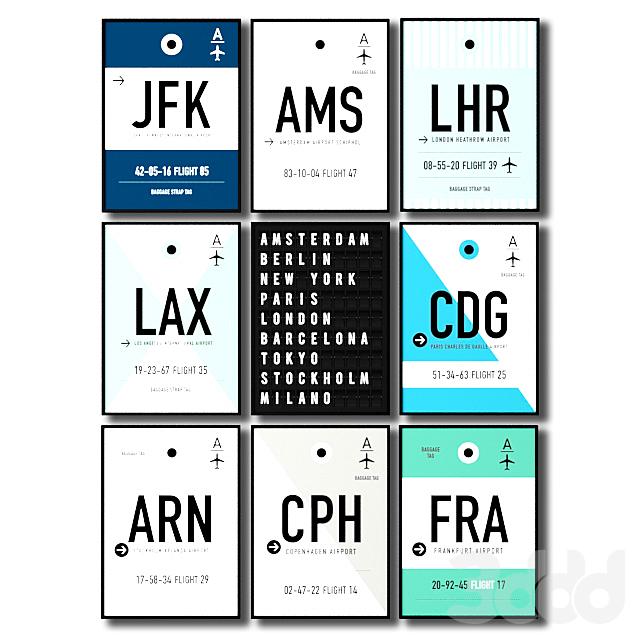 Постеры с крупнейшими аэропортами мира.