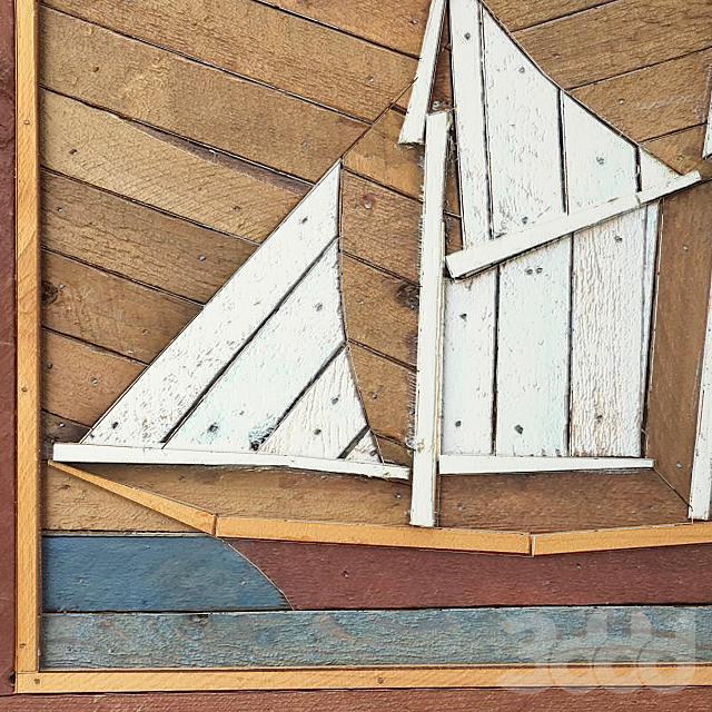 Folk Art Painted Wood Lathe Assemblage