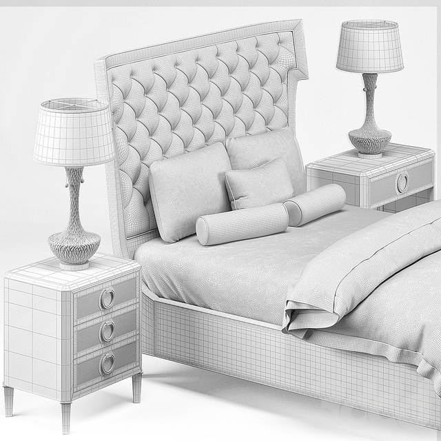 Hayley Hollywood Bed, Nightstand, Lamp
