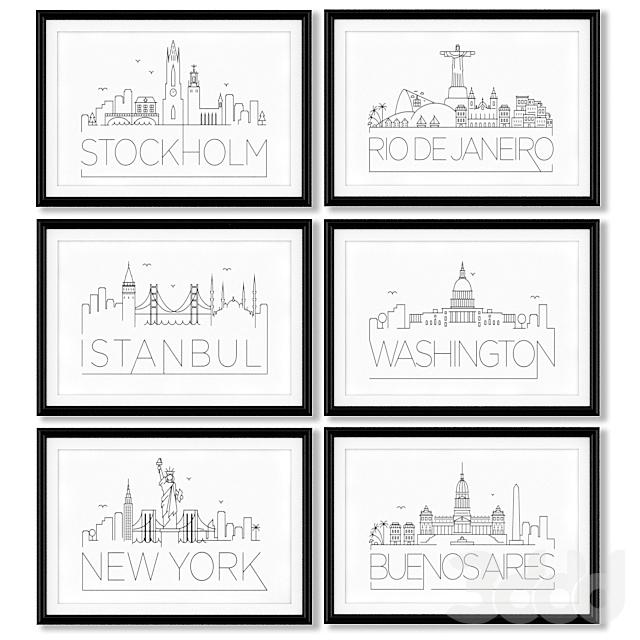 Серия постеров с названиями крупнейших городов мира и их достопримечательностями.