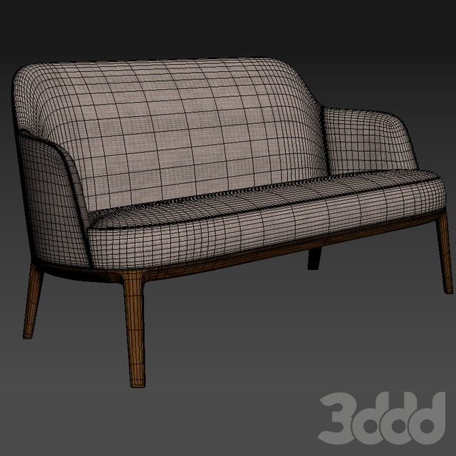 Jane Fabric Small Sofa Poliform Wood Base
