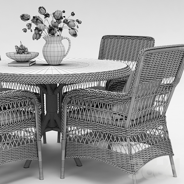 Marie wicker chair and Grace dining table