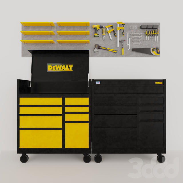 Набор инструментов DeWalt на перфопанелях