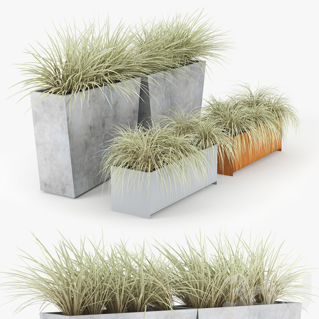 Twista Contemporary Modern Outdoor Planter Pot grass