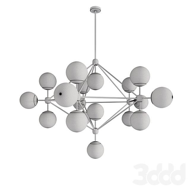 MODO CHANDELIER BLACK AND WHITE GLASS 15-21 GLOBES DESIGNED BY JASON MILLER