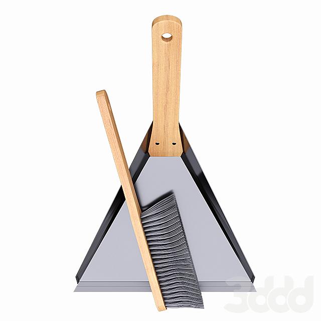 Wood Dustpan and Brush