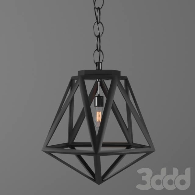 geometric diamond cage pendant