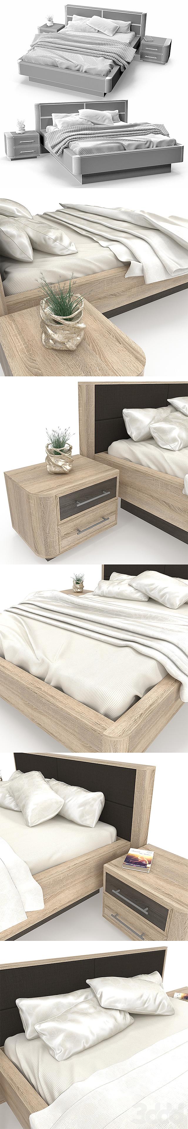 Кровать и тумба Бруна с декором