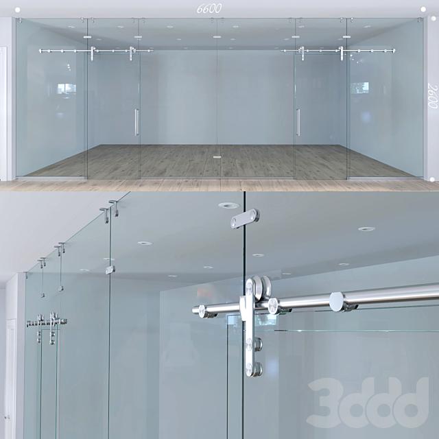 Стеклянная перегородка с раздвижными дверьми - 1