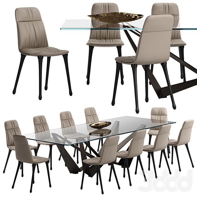 Cattelan italia Diana chair Skorpio table set